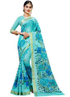 Sky Blue Panetar Chex Cotton Grand Pallu and Border Party Wear Saree