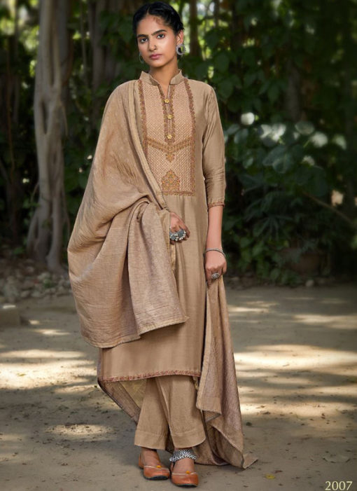 Chikoo Muslin Cotton Designer Embroidered Work Salwar Kameez