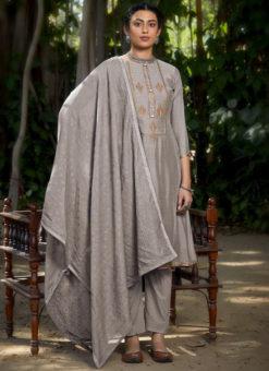 Grey Muslin Cotton Designer Embroidered Work Salwar Kameez