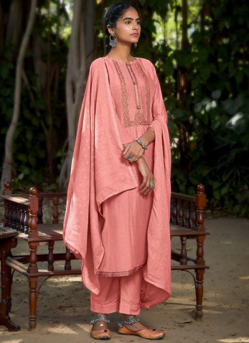 Mustred Muslin Cotton Embroidered Work Designer Salwar Kameez