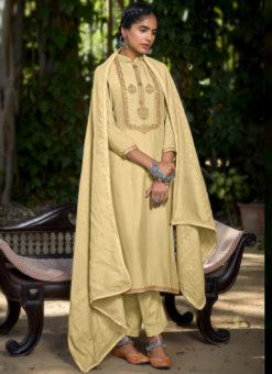 Yellow Designer Embroidered Work Muslin Cotton Salwar Kameez