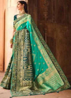 Designer Silk Zari Weaving And Lace Border Party Wear Saree