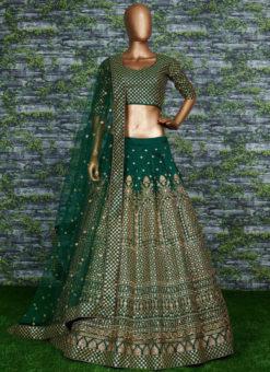 Dark Green Raw Silk Zari And Glitter Sequence Designer Lehenga Choli