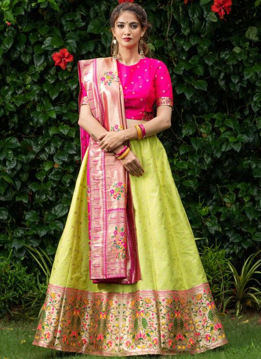 Designer Sangeet Sandhiya Zari Weaving Silk Lehenga Choli