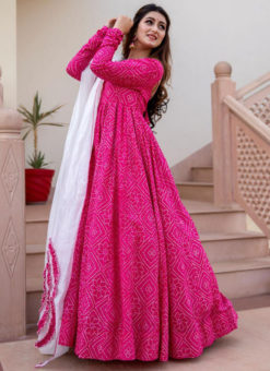Rani Rayon Cotton Bandhej Style With Dupatta Designer Flaired Gown