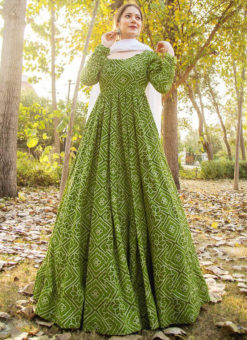 Green Rayon Cotton Bandhej Style With Dupatta Designer Flaired Gown