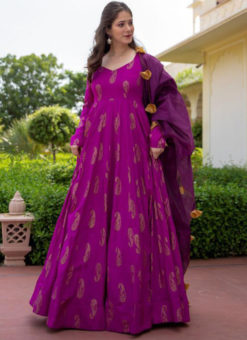 Lavender Rayon Cotton Bandhej Style With Dupatta Designer Flaired Gown