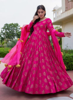 Rani Cotton Bandhej Style With Dupatta Designer Flaired Gown
