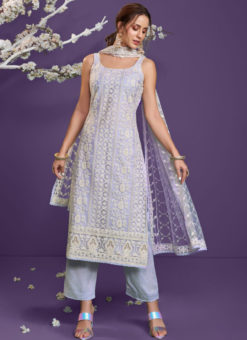 Lavender Net Lucknowi Work Designer Party Wear Salwar Suit