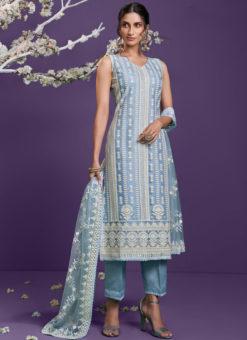 Steel Blue Lucknowi Work Party Wear Designer Net Salwar Suit