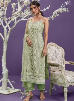 Pista Green Designer Net Lucknowi Work Salwar Suit