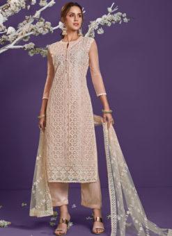 Peach Net Designer Party Wear Lucknowi Work Salwar Suit