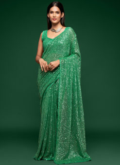 Pista Green Georgette Sequence Embroidery Work Party Wear Saree