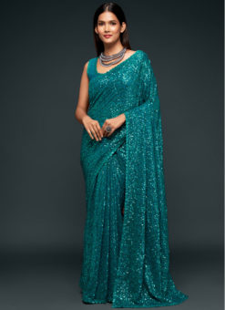 Teal Blue Georgette Sequence Embroidery Work Party Wear Saree