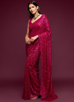 Pink Georgette Sequence Embroidery Work Party Wear Saree