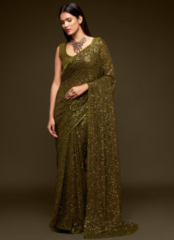 Brown Georgette Sequence Embroidery Work Party Wear Saree