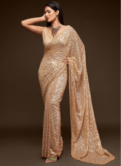 Cream Georgette Sequence Embroidery Work Party Wear Saree