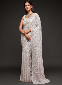 White Georgette Sequence Embroidery Work Party Wear Saree