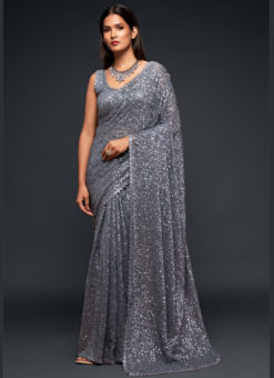 Grey Georgette Sequence Embroidery Work Party Wear Saree