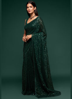 Green Georgette Sequence Embroidery Work Party Wear Saree