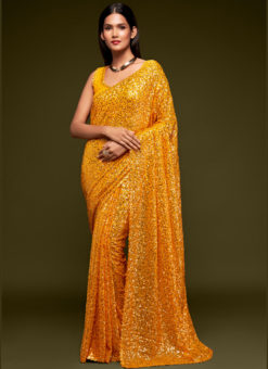 Yellow Georgette Sequence Embroidery Work Party Wear Saree