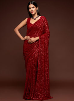 Red Georgette Sequence Embroidery Work Party Wear Saree