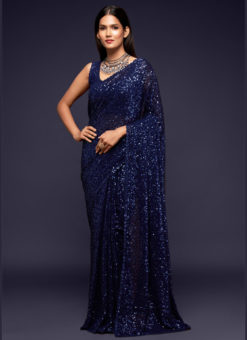 Blue Georgette Sequence Embroidery Work Party Wear Saree
