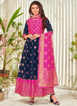 Navy Blue Banarasi Silk Foil Print Party Wear Salwar Suit