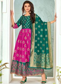 Pink Banarasi Silk Party Wear Foil Print Salwar Suit