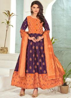Purple Banarasi Silk Foil Print Party Wear Salwar Suit