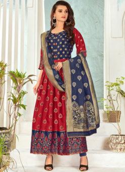 Maroon Banarasi Silk Foil Print Party Wear Salwar Suit