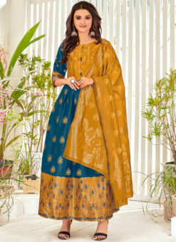 Teal Blue Banarasi Silk Party Wear Foil Print Salwar Suit
