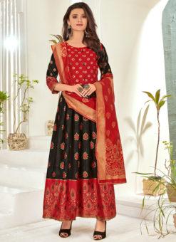 Black Foil Print Banarasi Silk Party Wear Salwar Suit