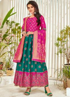 Sea Green Banarasi Silk Party Wear Foil Print Salwar Suit