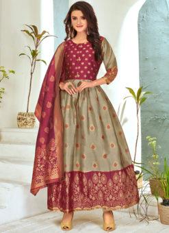 Grey Foil Print Party Wear Banarasi Silk Salwar Suit